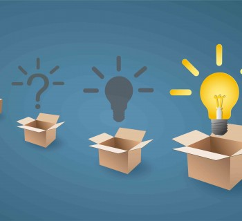 light bulb up from the opening box, and many box on background. creative and idea concept