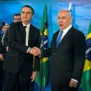 Prime Minister Benjamin Netanyahu and Brazilian President Jair Bolsonaro meet at Netanyahu's office in Jerusalem, March 31, 2019. Heidi Levine/Pool via REUTERS