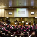 epa04434479 A general view of the opening of the Extraordinary Family Synod in the Synod Hall, Vatican City, 06 October 2014. Catholic bishops were coming together for a two-week Synod in order to discuss church stances on family-related issues such as marriage, divorce, homosexuality, contraceptives and premarital sex.  EPA/CLAUDIO PERI / POOL