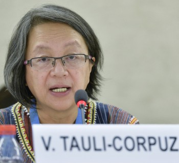 Victoria Tauli-Corpuz, Special Rapporteur on the rights of Indigenous Peoples during the panel the topics Human Rights and climate change. 6 March  2015. UN Photo / Jean-Marc FerrŽ